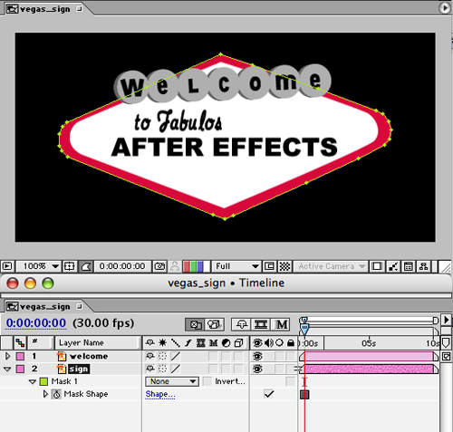 Select The Sign Layer And Go To EffectRenderVegas In Effect Controls Window Change Image Contours Mask Path Play With Render Settings